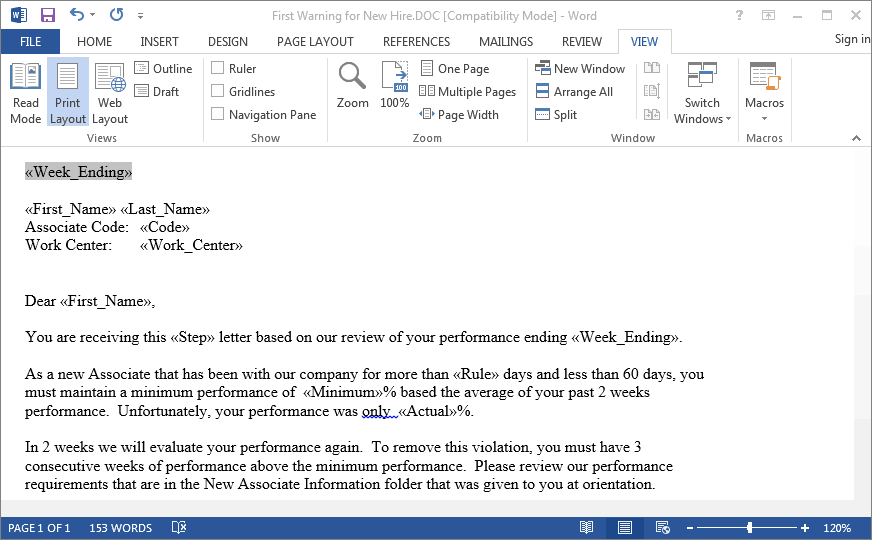 ProRep - Performance Policy warning letter